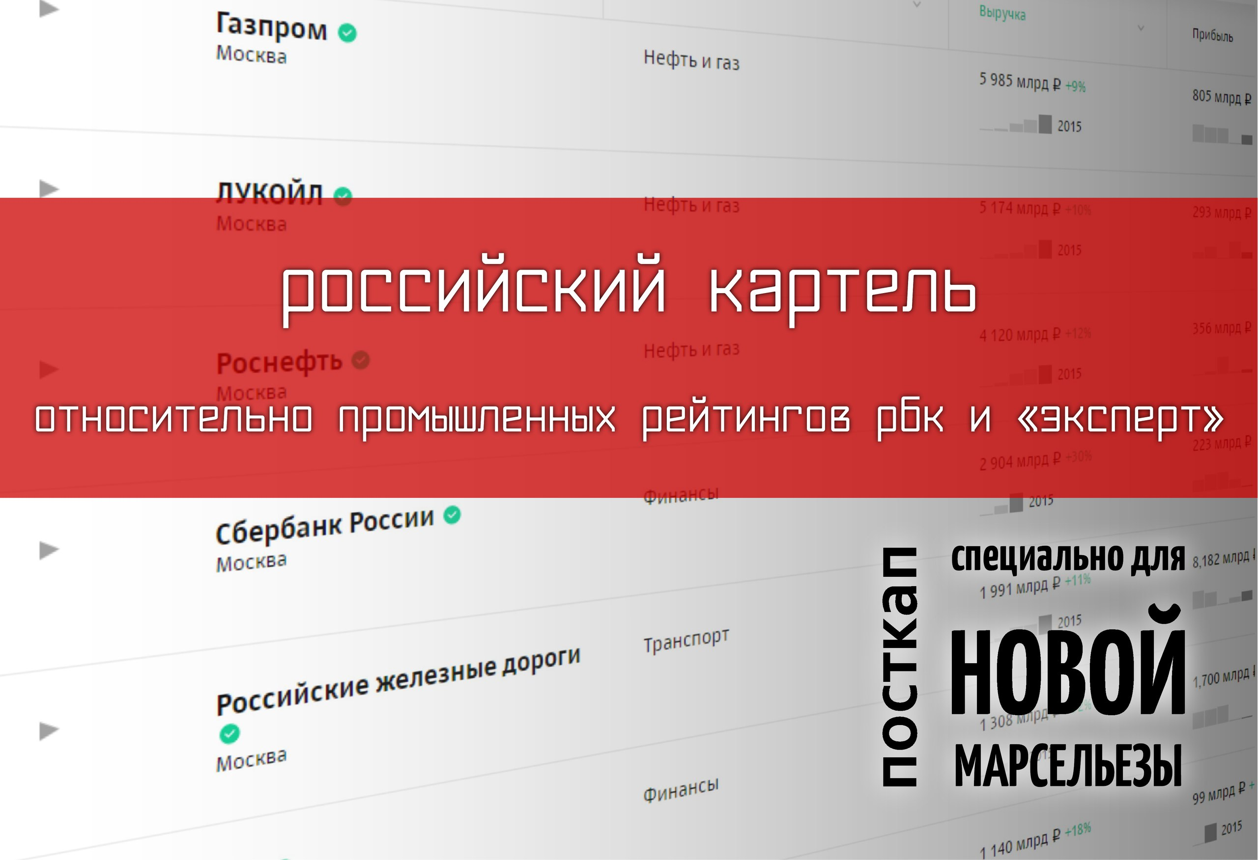 Российский картель. Относительно промышленных рейтингов РБК и «Эксперт»